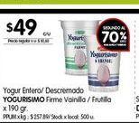Oferta de Yogur entero/descremado YOGURISIMO 190gr  por $49