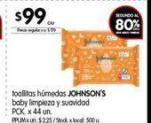 Oferta de Toallitas húmedas ecológicas Johnson's 44un  por $99