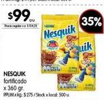 Oferta de Cacao Nesquik 360gr  por $99