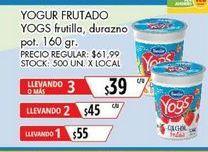 Oferta de Yogur Yogs frutado 160gr  por $39