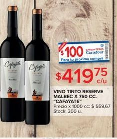 Oferta de Vino tinto reserve 750cc Cafayate por $419,75