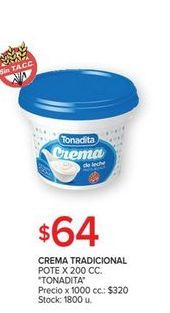 Oferta de Crema tradicional pote 200cc TONADITA  por $64