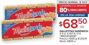 Oferta de Galletitas sandwich Media Tarde 5u 107g  por $68,5