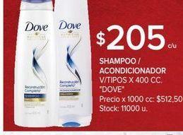 Oferta de Shampoo/ acondicionador 400cc Dove por $205