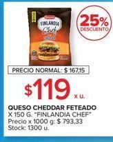 Oferta de Queso cheddar Finlandia chef feteado 150g por $119