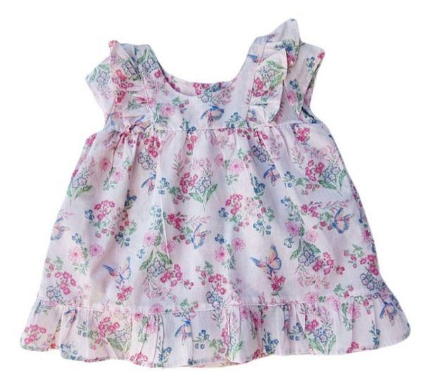 Oferta de Body Vestido Bebe Mga.corta Poplin Estampado Flores Mariposa por $2150