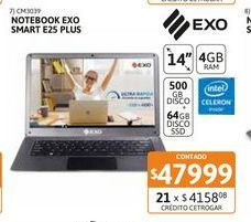 Oferta de Noteb Exo SMART E25 Plus 4-500GB+64GBSSD por $47999