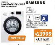Oferta de Lav Samsung WW70J4463GW 7K CF 1400rpm Bl INV por $63999