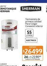 Oferta de Termot Sherman Elect Col 55L/BC c.inf por $26499
