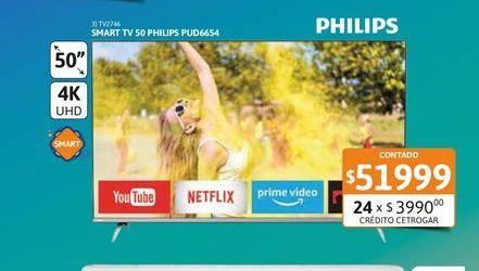 Oferta de TV2746Tv Led 50 Philips PUD6654 4K Smart UHD por $51999