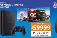 Oferta de PS4 Sony Mega Pack 16+ DS + 3 Juegos por $59999
