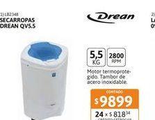 Oferta de Secarr Drean QV 5.5kg por $9899