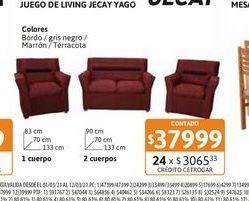 Oferta de Jgo Living Jecay Yago 211 Rust Bordo por $37999