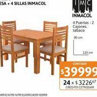 Oferta de Mesa 120x080+4 Sill Inmacol Miel 230+231 por $39999