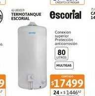 Oferta de Termot Escorial Multigas Col 80L c.sup por $17499