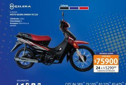 Oferta de Motoc Gilera Smash VS 110 RY por $75900