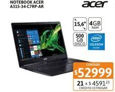 """Oferta de Not Acer A315-34-C7RP-AR 15"""" Cel 4-500GB por $52999"""