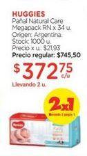 Oferta de HUGGIESPañal Natural Care Megapack RN x 34 u. por $372,75