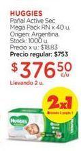 Oferta de HUGGIESPañal Active Sec Mega Pack RN x 40 u. por $376,5
