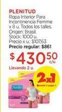 Oferta de PLENITUDToalla Para Incontinenciua Femme Ultra x 8 u. por $430,5
