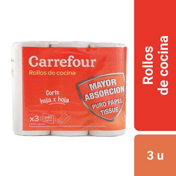 Oferta de Rollo de cocina Carrefour 3 x 40 paños por $70,98