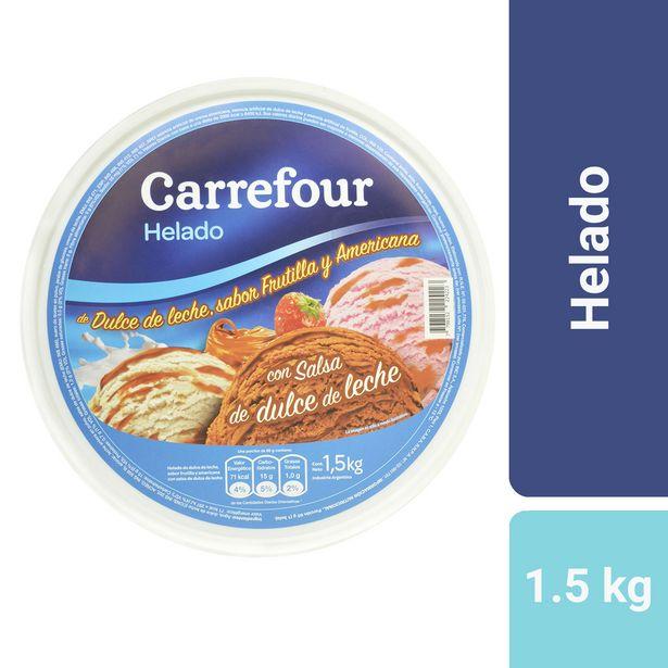 Oferta de Helado Carrefour dulce de leche, americana y frutilla con salsa de dulce de leche 1.5 kg. por $636,09
