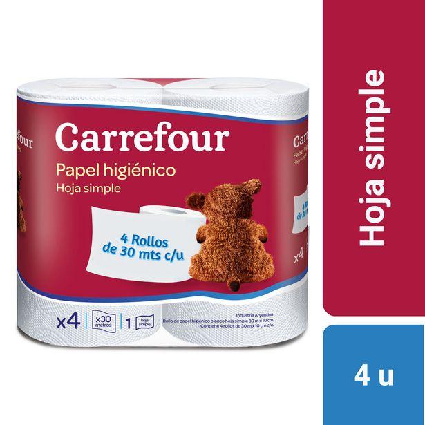 Oferta de Papel higiénico hoja simple Carrefour 4 x 30 m. por $59,62