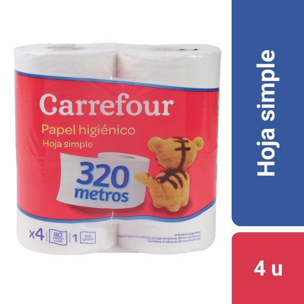 Oferta de Papel higiénico hoja simple Carrefour 4 x 80 m. por $157,53
