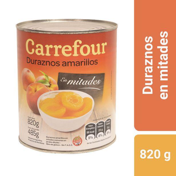 Oferta de Duraznos amarillos en mitades Carrefour 820 g. por $166,53