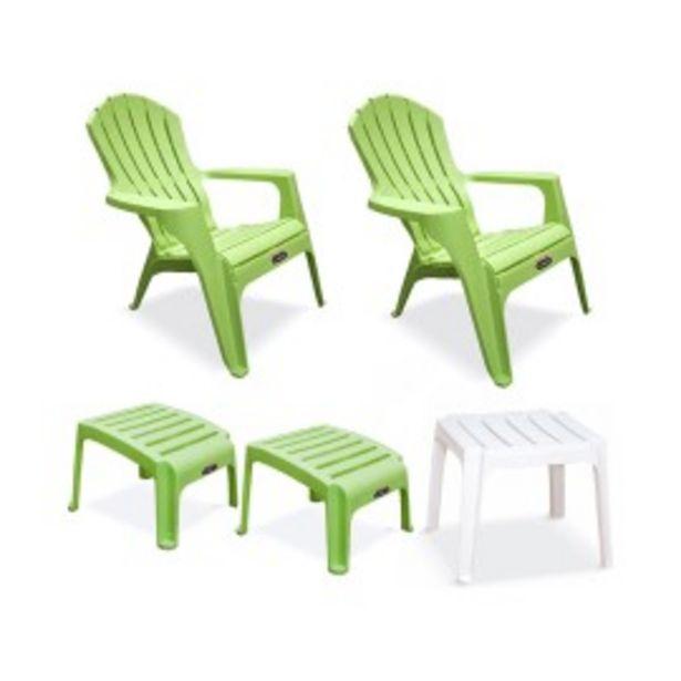 Oferta de 2 Sillones Country-2 Posapies Verde-Mesa Blanco - Colombraro por $14448