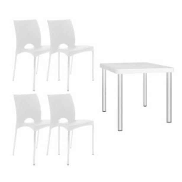 Oferta de Juego de mesa Timbu - 4 sillas boston blancas por $18999