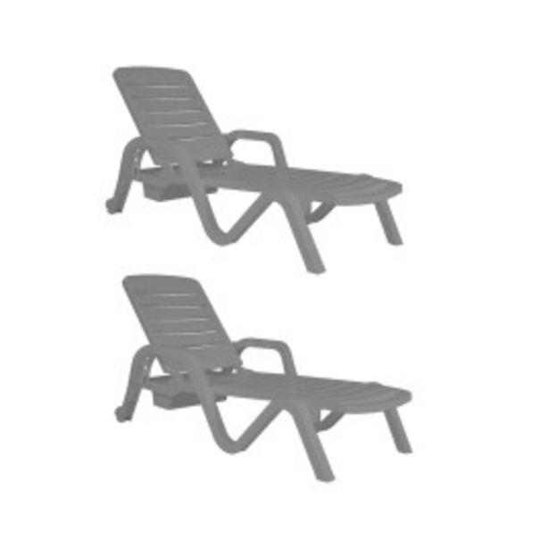 Oferta de Set 2 Reposeras Toronto de plastico gris por $23599