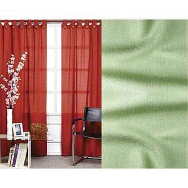 Oferta de Cortinas De Rafia Liviana Con Botones De  Madera- Verde Manzana por $5293
