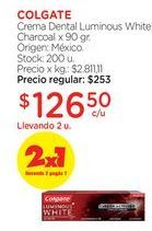 Oferta de Crema Dental Luminous White Charcoal x 90 gr. por $253