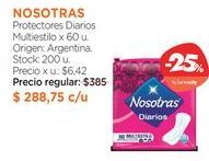 Oferta de Protectores Diarios Multiestilo x 60 u. por $288,75