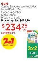 Oferta de Cepillo Supreme con limpiador lingual Pack x 3 u. por $468,5