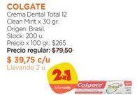 Oferta de Crema Dental Total 12 Clean Mint x 30 gr. por $79,5