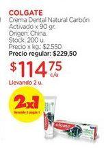 Oferta de Crema Dental Natural Carbón Activado x 90 gr. por $229,5