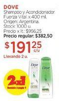 Oferta de Shampoo y Acondicionador Fuerza Vital x 400 ml. por $382,5
