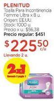 Oferta de Toalla Para Incontinencia Femme Ultra x 8 u. por $451