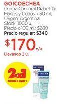 Oferta de Crema Corporal Diabet Tx Manos y Codos x 50 ml. por $340