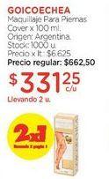 Oferta de Maquillaje Para Piernas Cover x 100 ml. por $662,5