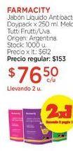 Oferta de Jabón Líquido Antibacterial Doypack x 250 ml. por $153