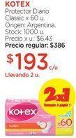 Oferta de Protector Diario Classic x 60 u. por $386
