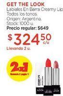 Oferta de Labiales En Barra Creamy Lips. por $649