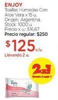 Oferta de Toallas Húmedas Con Aloe Vera x 15 u. por $250
