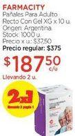 Oferta de Pañales Para Adulto Recto Con Gel XG x 10 u. por $375