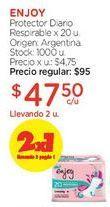 Oferta de Protector Diario Respirable x 20 u. por $95