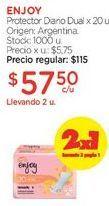Oferta de Protector Diario Dual x 20 u. por $115