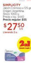 Oferta de Jabón Cremoso x 125 gr. por $55